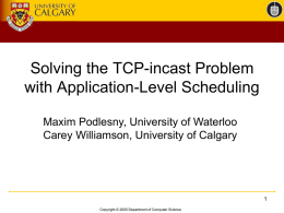 Solving the TCP-incast Problem with Application