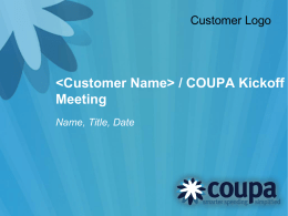 ACS / COUPA Kickoff Meeting