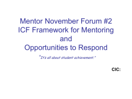Mentor September Forum #2 ICF Framework for Mentoring