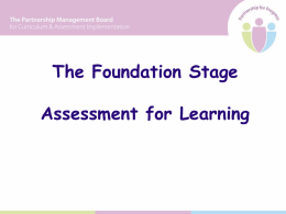 Assessment for Learning - WELB Curriculum and Advisory Support