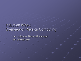 Overview of PP Computing  - University of Oxford Department of