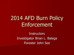 2014 AFD Burn Policy Enforcement