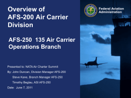 Federal Aviation Administration Overview of AFS-200 Air