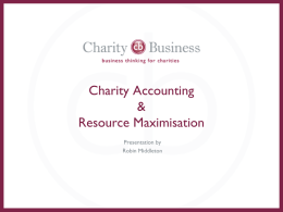 Charity Accounting & Resource Maximisation