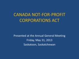 Not-For-Profit Workshop - RCMP / GRC Veterans Association des