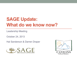 sage update - oct 24 - Canyons Assessment