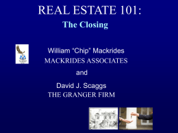 REAL ESTATE 101: - MACKRIDES ASSOCIATES AT LAW
