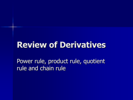 Review of Derivatives - PowerPoint Presentation