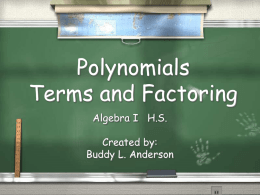 Polynomials: Terms & Factoring