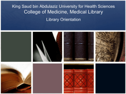 Library Orientation - College of Medicine