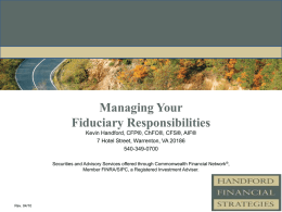 Managing Your Fiduciary Responsibilities and Retirement Consulting