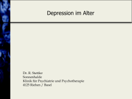 Depression im Alter: Involutionsdepression? - Seminare