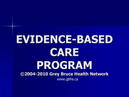 General Evidence-Based Care Orientation