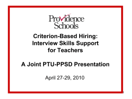 Criterion-Based Hiring - Providence School Department