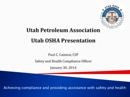 High Hazard Industries - Utah Petroleum Association