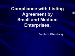 Presentation on listing agreement for SMEs
