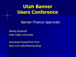 Banner Finance Approvals PowerPoint