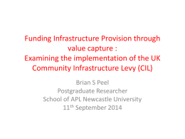 Funding Infrastructure Provision through value capture : Examining