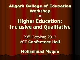 Aligarh College of Education Workshop on Higher Education