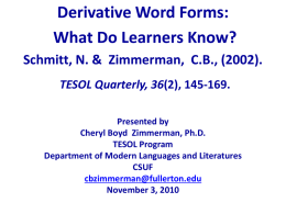 Derivative word forms: What do learners know?