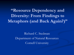 Resource Dependency and Diversity: From Findings to Metaphors