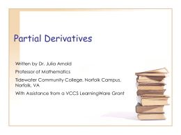 Partial Derivatives - Tidewater Community College