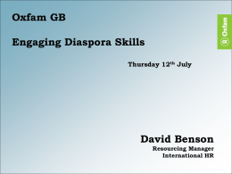 David Benson, International Recruitment team