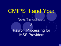 CMIPS II and You: - Alameda County Social Services