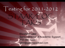STAAR EOC - Galena Park Independent School District
