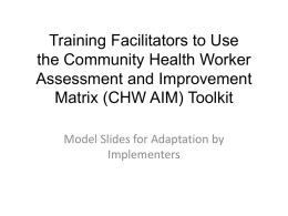 Training Facilitators to Apply CHW AIM