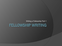 Jameson-Fellowship Writing/Reviewers Perspective