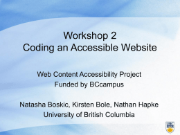 Coding an Accessible Site - University of British Columbia