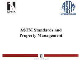 ASTM Standards & Property Management - Western Region