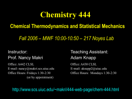 Lecture Slides - School of Chemical Sciences