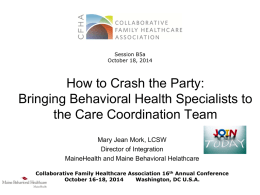 Care Coordination and Behavioral Health