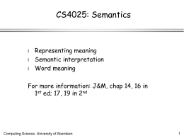 Semantics - Homepages | The University of Aberdeen