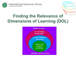 Finding the Relevance of Dimensions of Learning