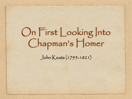 On First Looking Into Chapman`s Homer John Keats (1795