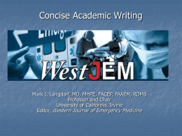 Concise Academic Writing - The Western Journal of Emergency