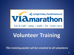 Volunteer Training - Lehigh Valley Health Network Via Marathon
