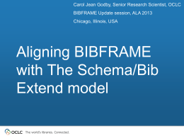`Aligning BIBFRAME with The Schema/Bib Extend Model` © OCLC
