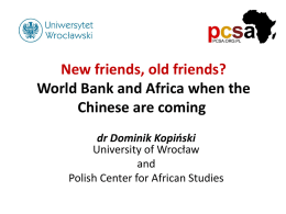 New friends, old friends? World Bank and Africa when the Chinese