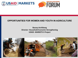 Opportunities for Women and Youth in Agriculture