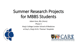 Adam Summer Research Projects for MBBS Students