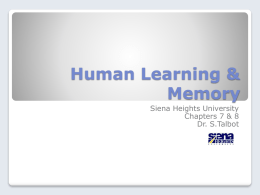 Chapter 7 & 8 –Cognitive Views of Learning