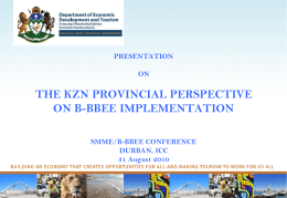 the kzn provincial perspective on b