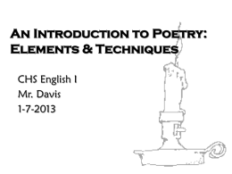 An Introduction to Poetry: Elements & Techniques