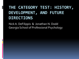History of the Category Test 2
