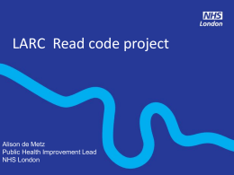 LARC Read Code Project - London Sexual Health Programme