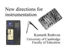 New directions for instrumentation